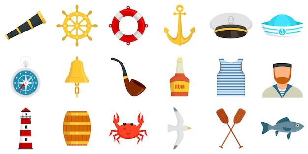 Conjunto de iconos de marinero