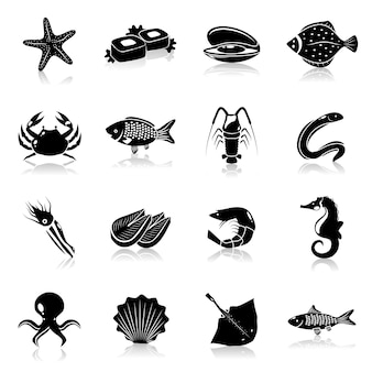 Conjunto de iconos de mariscos negro