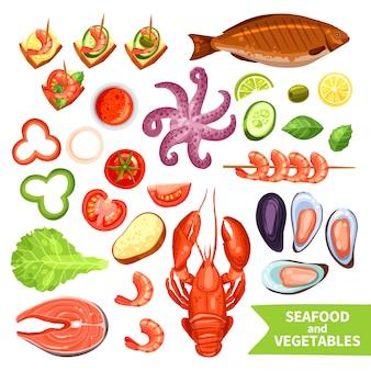 Conjunto de iconos de mariscos y verduras