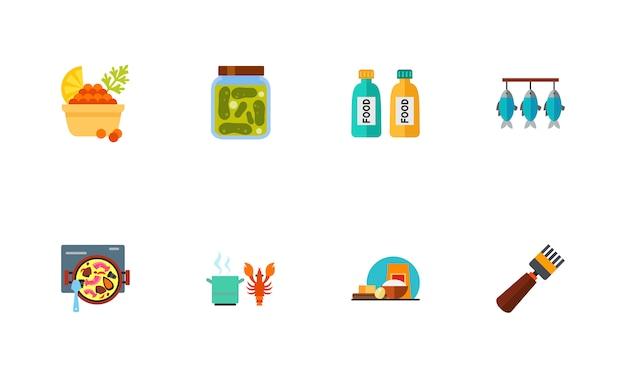 Conjunto de iconos de mariscos