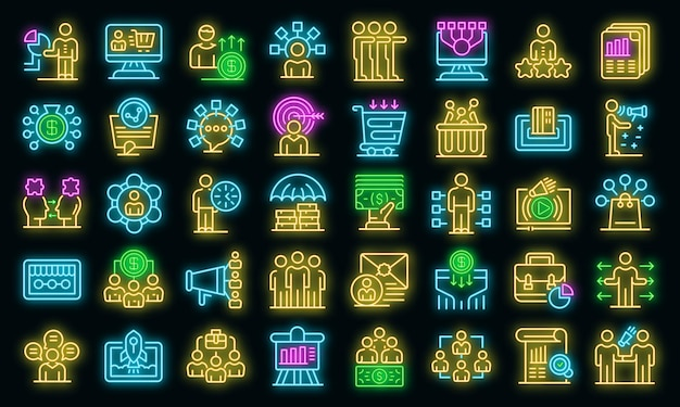 Conjunto de iconos de marketing de afiliados. esquema conjunto de iconos de vector de marketing de afiliados color neón en negro