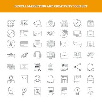 Conjunto de iconos de marketing digital y creatividad