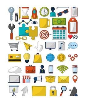 Conjunto de iconos de marketing digital