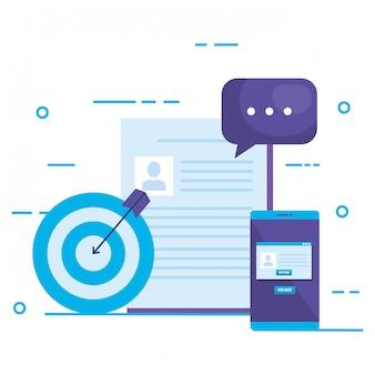 Conjunto de iconos de marketing en redes sociales