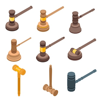 Conjunto de iconos de martillo de juez, estilo isométrico