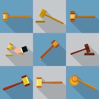 Conjunto de iconos de martillo de juez. ilustración plana de 9 iconos de martillo de juez para web
