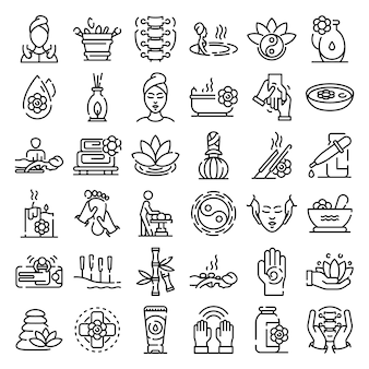 Conjunto de iconos de masaje, estilo de contorno