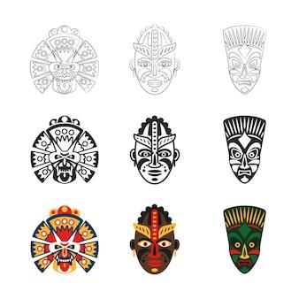 Conjunto de iconos de máscara africana