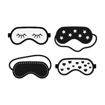 Conjunto de iconos de máscaras de belleza de sueño en blanco y negro aislado sobre fondo blanco. accesorio de protección ocular. vendas de relajación con corazón, estrella. ilustración de vector de dibujos animados de diseño plano de cubierta de ojo