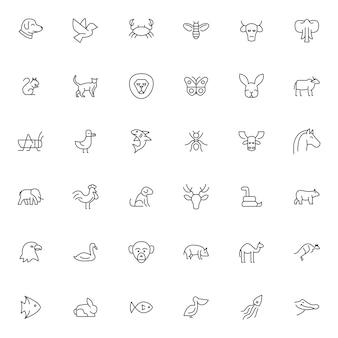 Conjunto de iconos de mascotas y animales