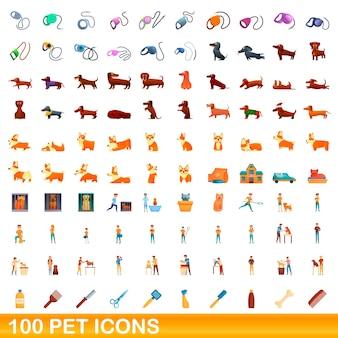 Conjunto de iconos de mascotas. ilustración de dibujos animados de iconos de mascotas en fondo blanco