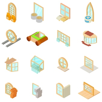Conjunto de iconos de material de ventana, estilo isométrico