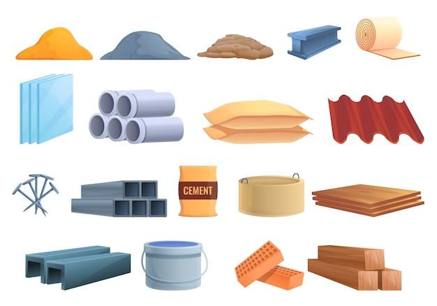 Conjunto de iconos de materiales de construcción, estilo de dibujos animados