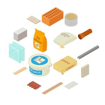 Conjunto de iconos de materiales de construcción, estilo isométrico