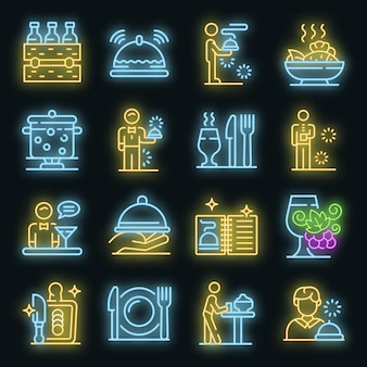 Conjunto de iconos de mayordomo. esquema conjunto de color neón de los iconos de vector de mayordomo en negro
