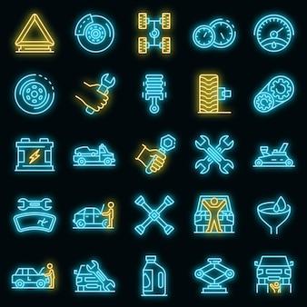 Conjunto de iconos de mecánico de automóviles. esquema conjunto de iconos de vector de mecánico de automóviles color neón en negro