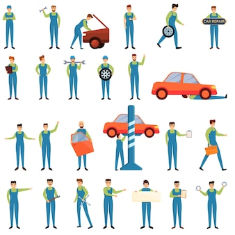 Conjunto de iconos de mecánico de coche. iconos de mecanico de coche