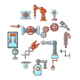 Conjunto de iconos de mecanismos técnicos, estilo de dibujos animados
