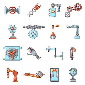 Conjunto de iconos de mecanismos técnicos.