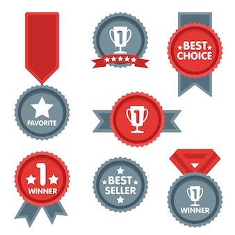 Conjunto de iconos de medalla y ganador.