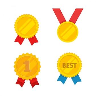Conjunto de iconos de medalla de oro de dibujos animados plana
