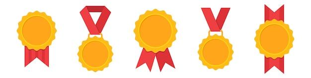 Conjunto de iconos de medalla de oro en un diseño plano