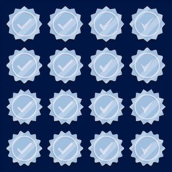 Conjunto de iconos de medalla de plata marca de verificación.