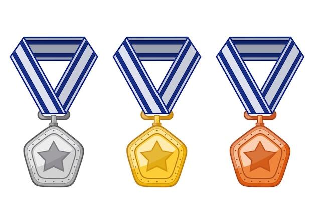 Conjunto de iconos de medallas de bronce de oro plata