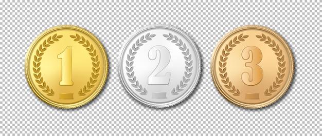 Conjunto de iconos de medallas de oro, plata y bronce realistas aisladas sobre fondo transparente.