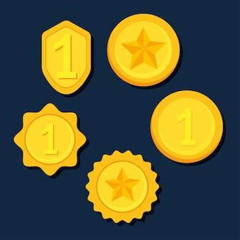 Conjunto de iconos de medallas de premio de oro