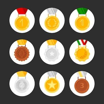 Conjunto de iconos de medallas. premios de oro, plata y bronce.