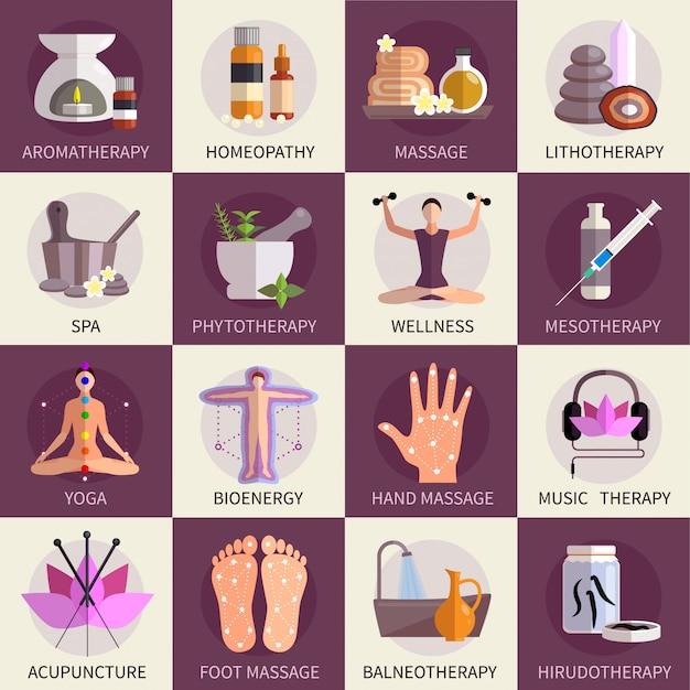 Conjunto de iconos de medicina alternativa