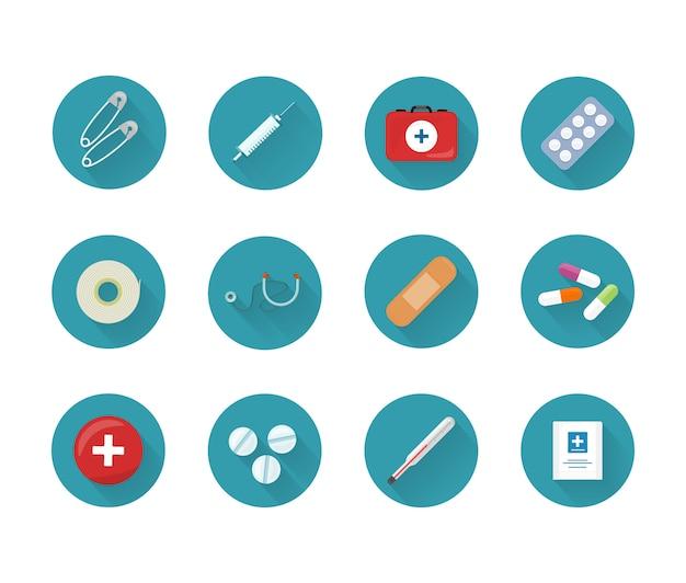Conjunto de iconos de medicina colección en botones web.