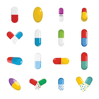 Conjunto de iconos de medicina píldora cápsula