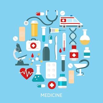 Conjunto de iconos de medicina plana redonda
