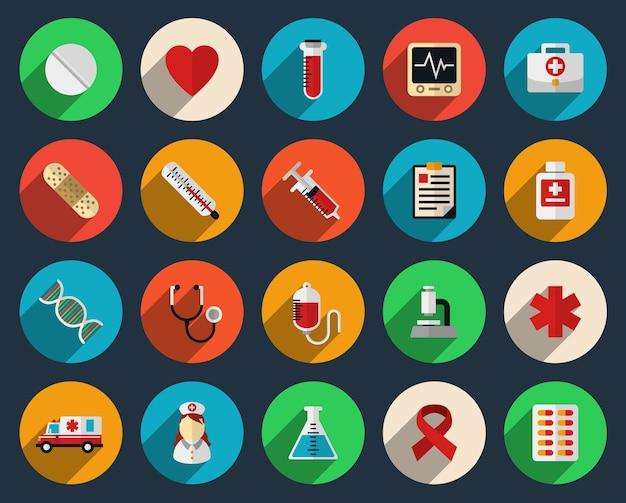 Conjunto de iconos de medicina y salud en estilo plano. tabletas, jeringa y signo de símbolo de farmacia