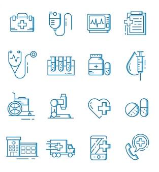 Conjunto de iconos médicos con estilo de contorno