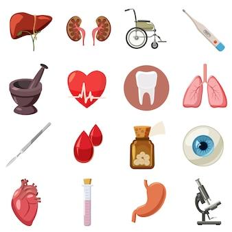 Conjunto de iconos médicos, estilo de dibujos animados