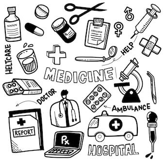 Conjunto de iconos médicos en estilo doodle.