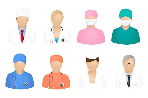 Conjunto de iconos médicos con malla de degradado