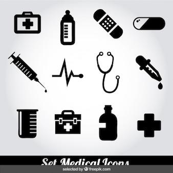 Conjunto de iconos médicos monocromáticos