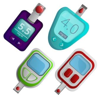 Conjunto de iconos de medidor de glucosa, estilo de dibujos animados