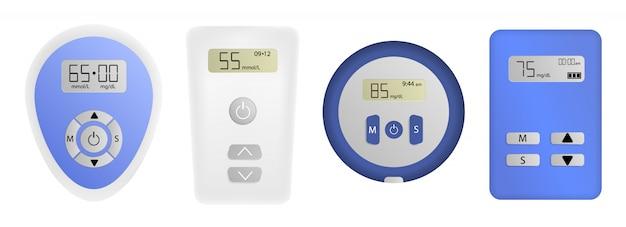 Conjunto de iconos de medidor de glucosa, estilo realista