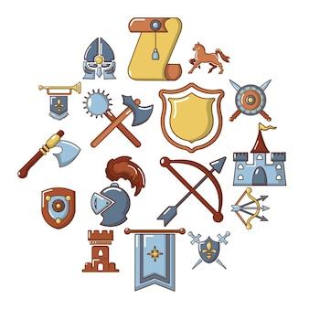 Conjunto de iconos medievales de caballero, estilo de dibujos animados