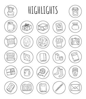 Conjunto de iconos de medios de dibujos animados destacados.