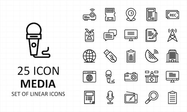 Conjunto de iconos de medios pixel perfect