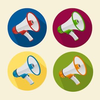 Conjunto de iconos de megáfono aislado en blanco