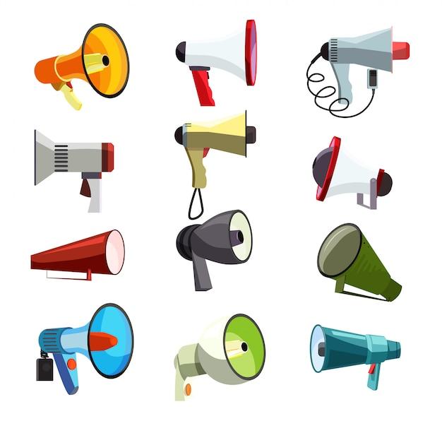 Conjunto de iconos de megáfonos