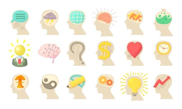 Conjunto de iconos de la mente humana