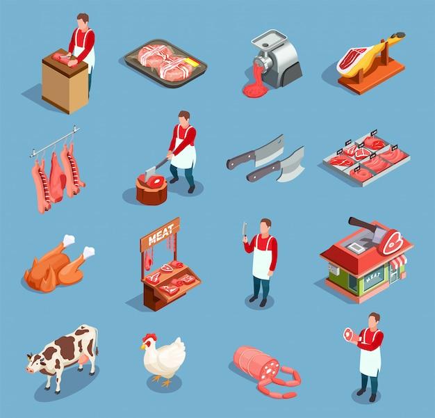 Conjunto de iconos de mercado de carne